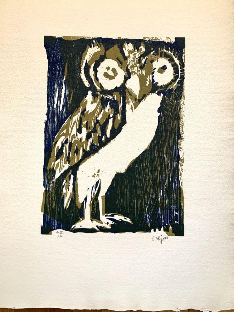 Woodcut Lorjou -  Les animaux : Chouette verte