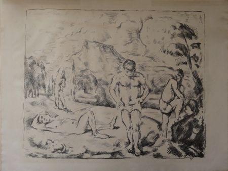 Lithograph Cezanne - Les Baigneurs / The Bathers (Large plate)
