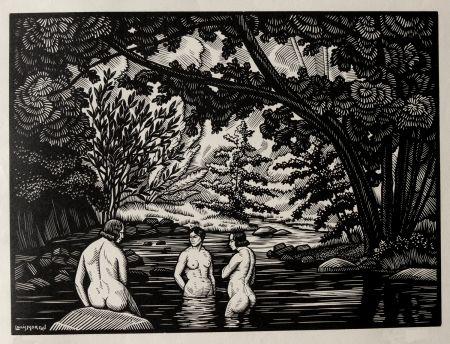 Woodcut Moreau - LES BAIGNEUSES / BATHERS - Gravure s/bois / Woodcut - 1912