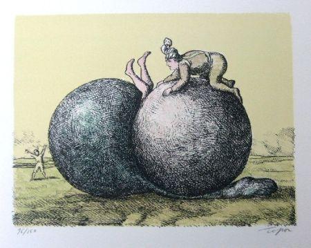 Lithograph Topor - Les boules