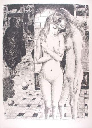 Lithograph Delvaux - Les Captives