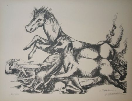 Lithograph Zadkine - Les cavales de Diomède