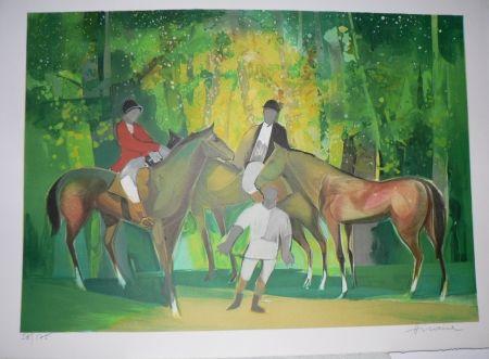 Lithograph Hilaire - Les Cavaliers