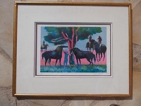Lithograph Guiramand - Les cavaliers