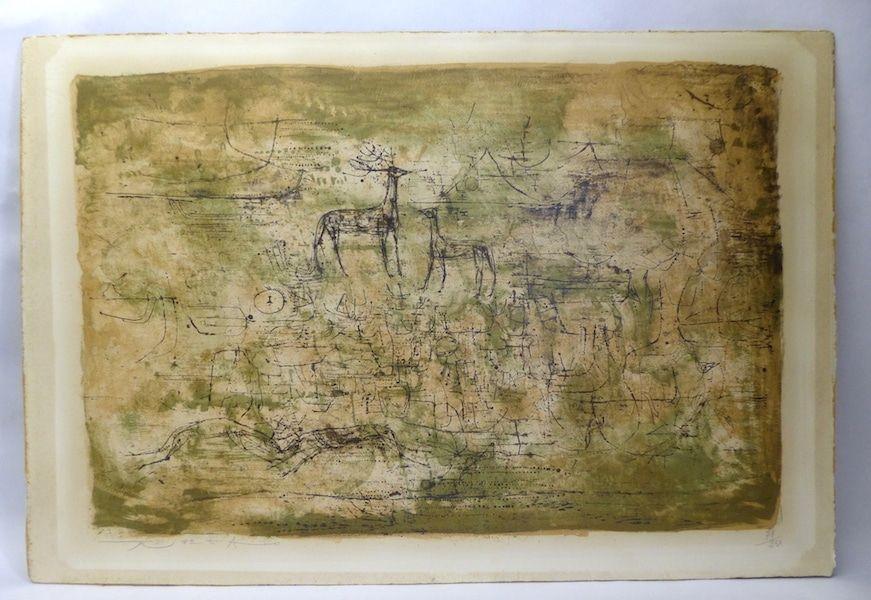 Lithograph Zao - Les cerfs