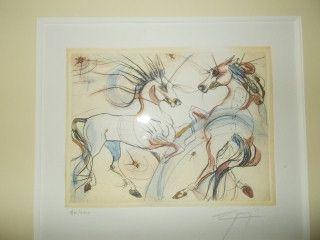 Lithograph Guiny - Les chevaux de Jupiter