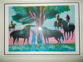 Lithograph Guiramand - Les chevaux et les cavaliers