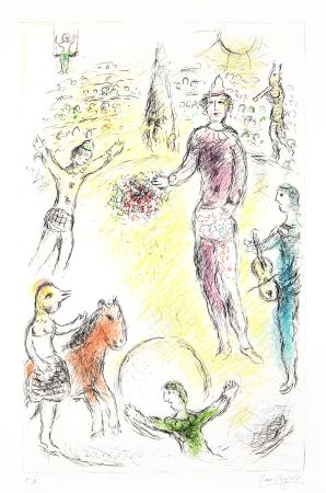 Lithograph Chagall -  Les Clowns Musiciens (Musical Clowns)