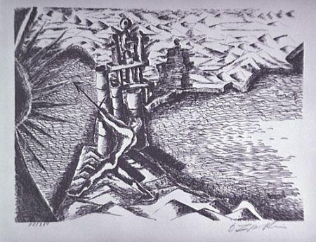 Lithograph Zadkine - Les Colonnes d'Hercule