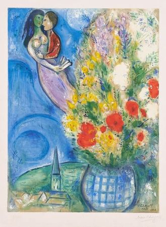 Lithograph Chagall - Les Coquelicots (Red Poppies)