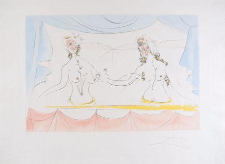 Engraving Dali - Les Dames de la Renaissance - Ladies of the Renaissance (suite Mythologique Nouvelle/New Mythological)