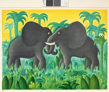 Lithograph Scherfig - Les deux éléphants