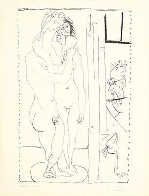 Lithograph Picasso - Les deux modèles nus