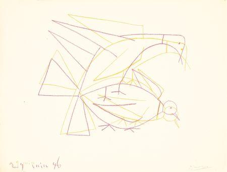 Lithograph Picasso - Les deux tourterelles doubles