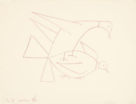 Lithograph Picasso - Les deux tourterelles, I