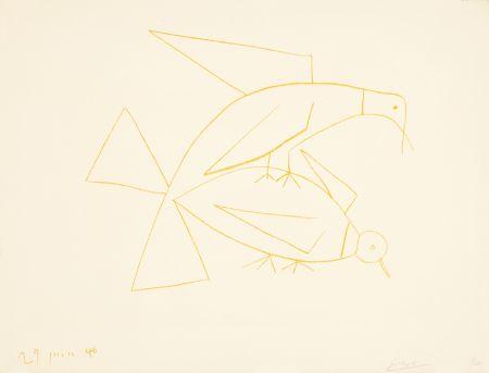 Lithograph Picasso - Les deux tourterelles, II