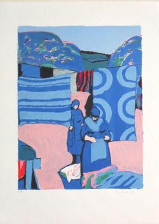 Lithograph Godard - Les draps bleus