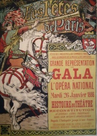Lithograph Grasset - Les Fêtes de Paris