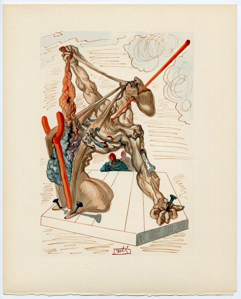 Woodcut Dali - Les Falsificateurs. La Divine Comédie (L' Enfer, Chant 20)