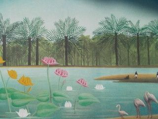 Lithograph Rousseau - Les flamants