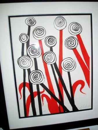 Lithograph Calder - Les Fleurs