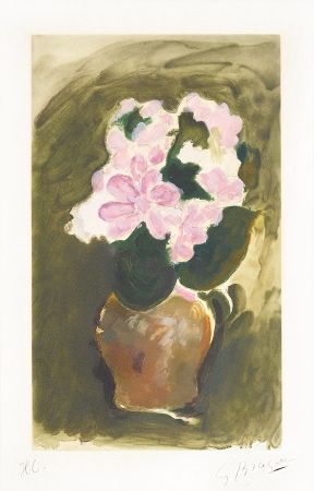 Etching And Aquatint Braque - Les Fleurs Violets (Purple Flowers), c. 1960