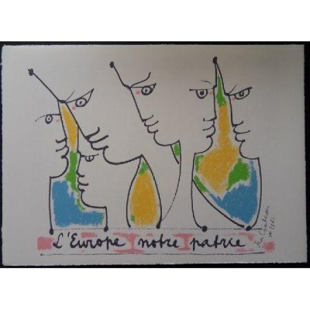 Lithograph Cocteau - Les fondateurs de l'Europe