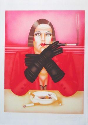 Lithograph Okshteyn - Les gants noirs