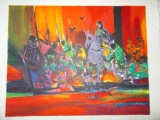 Lithograph Mouly - Les guerriers rouges