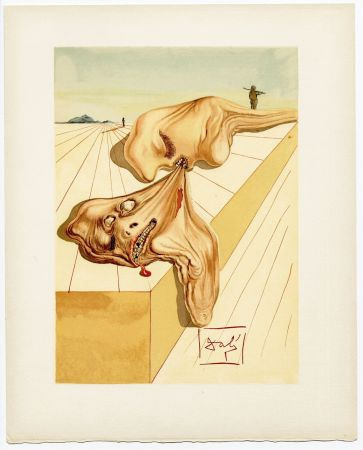 Woodcut Dali - Les hommes qui s'entre-dévorent. La Divine Comédie (L' Enfer, Chant 30)