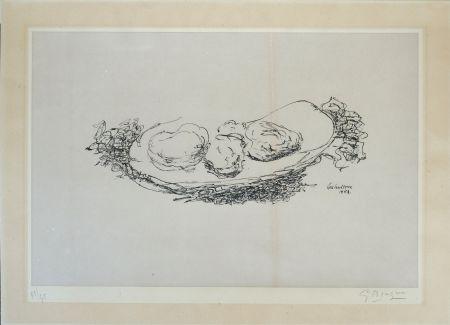 Lithograph Braque - Les Huitres