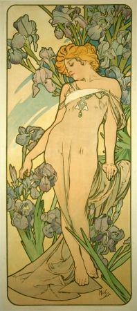 Lithograph Mucha - Les Iris