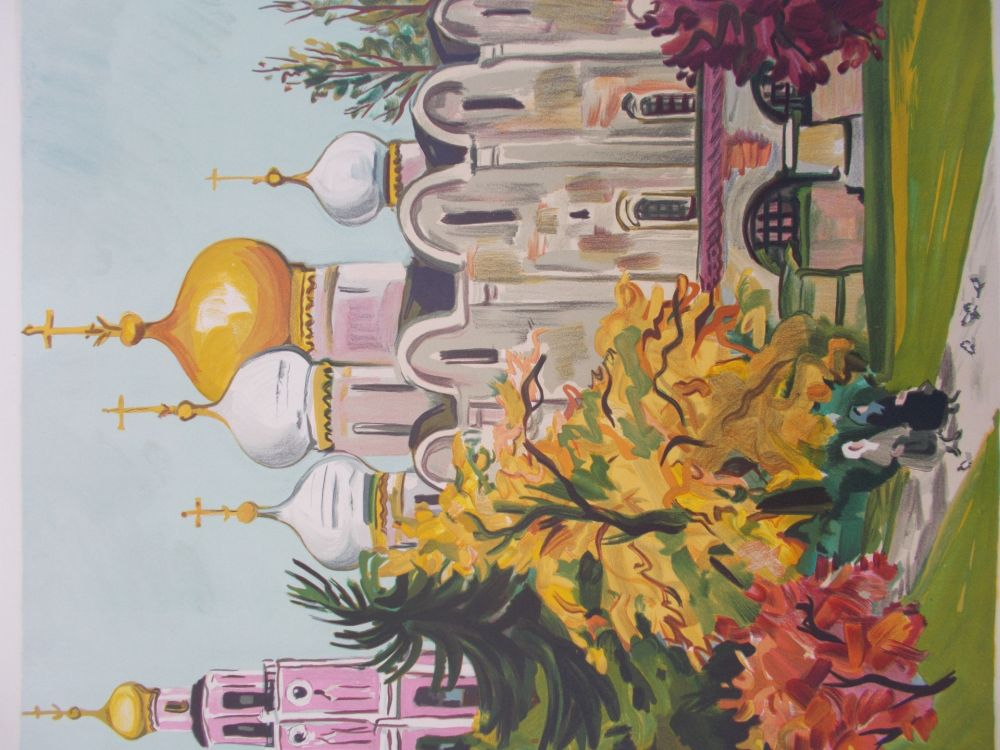 Lithograph Brayer - Les jardins du Kremlin