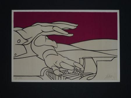 Lithograph Adami - Les mains du pianiste