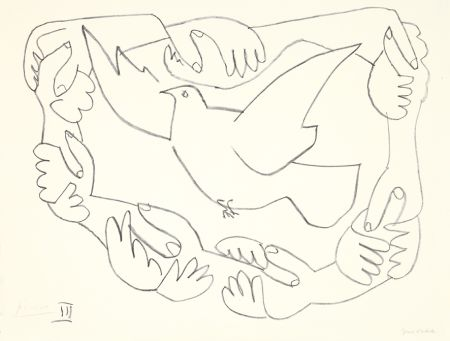 Lithograph Picasso - Les mains liées III