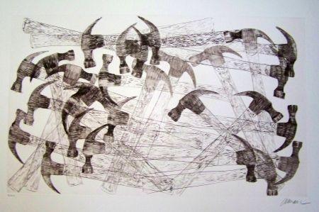 Engraving Arman - Les marteaux