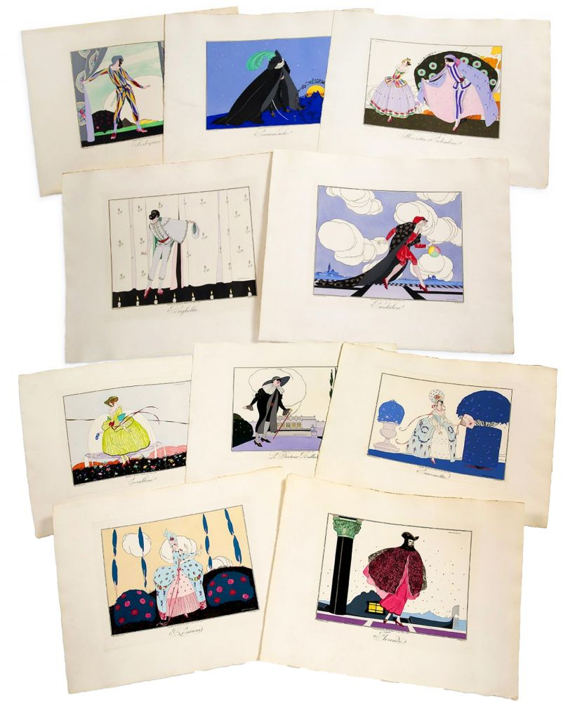 Illustrated Book Brunelleschi - LES MASQUES ET LES PERSONNAGES DE LA COMÉDIE ITALIENNE, expliqués par Gérard d'Houville, et interprétés par Brunelleschi, en douze estampes coloriées (1914)