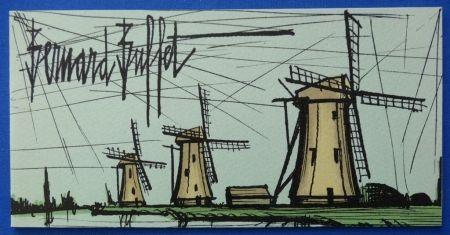Lithograph Buffet - Les moulins