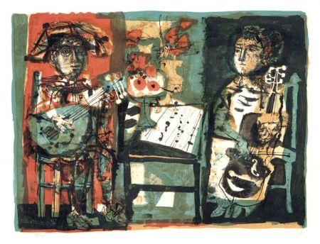 Lithograph Clavé - Les musiciens