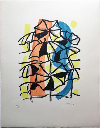 Lithograph Leger - LES PARAPLUIES (La Ville, 1959)
