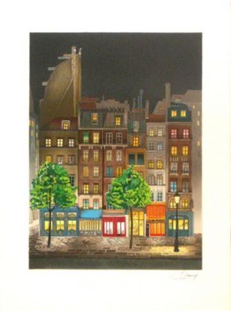 Lithograph Lecoindre - Les platanes