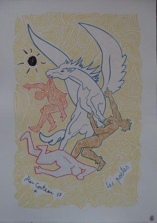 Lithograph Cocteau - Les poètes