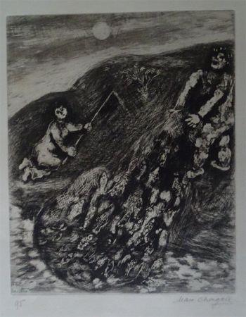 Engraving Chagall - Les possions et le Berger qui joue de la Flute