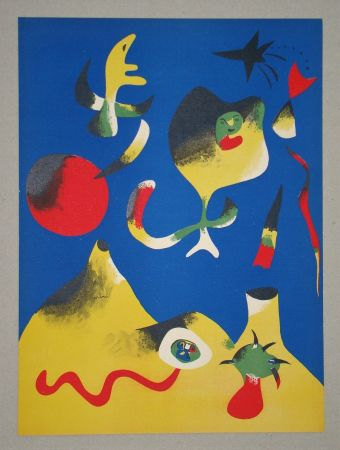 Lithograph Miró (After) - Les quatre éléments - Air