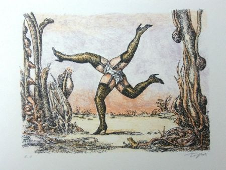 Lithograph Topor - Les quatre jambes
