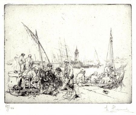 Engraving Brouet - Les Raccommodeurs de Filets