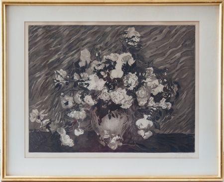 Etching And Aquatint Villon - Les roses (d'après Van Gogh)