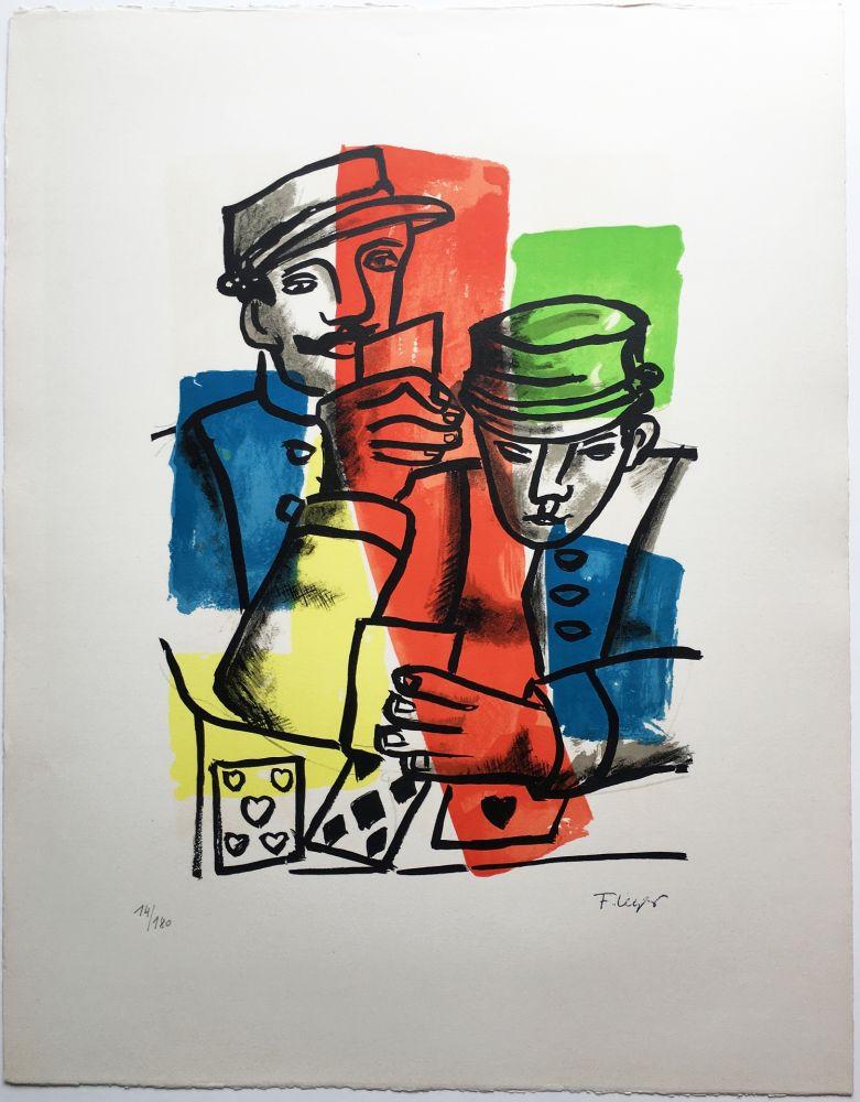 Lithograph Leger - LES SOLDATS ou LES JOUEURS DE CARTES (La Ville, 1959).