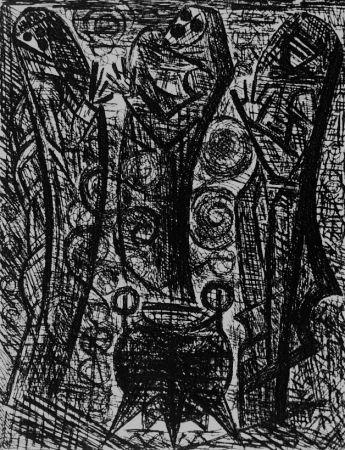 Engraving Gromaire - Les sorcieres