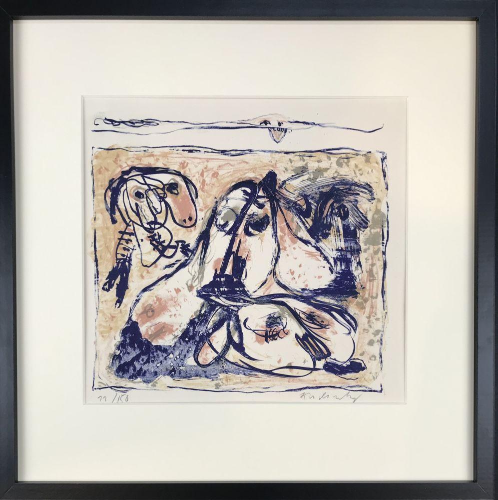 Lithograph Alechinsky - Les tireurs de langue, 1962